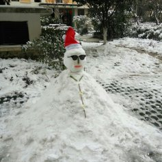 I did not make this snow man, though I would have liked to make it. But I did make one!